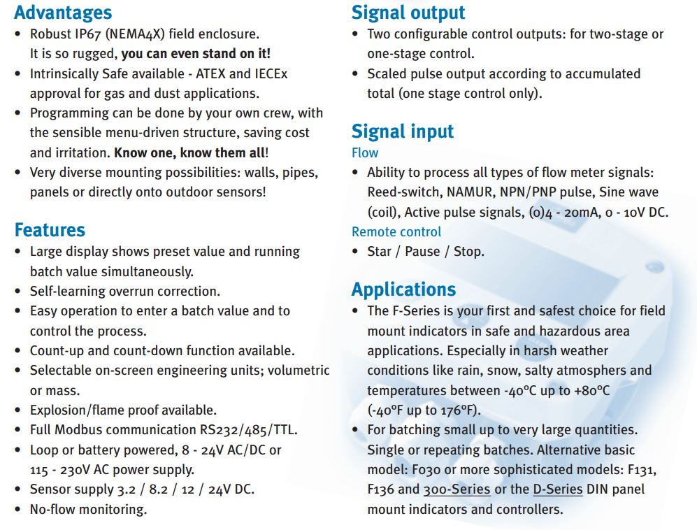 F130-P Batch Controller, Pulse Input 2-Stage Outputs, Batt and DC Power,  ATEX