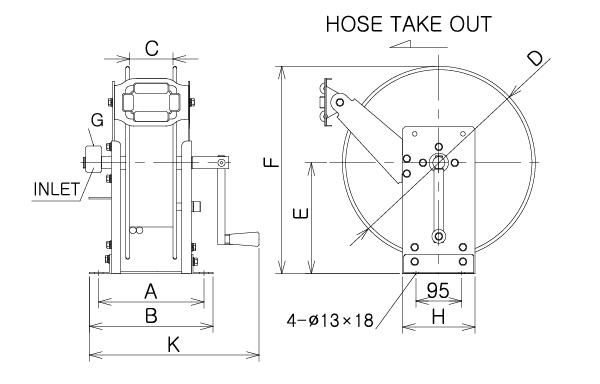 Hand Cranked Hose Reel Manual Rewind Up To 30m Hose