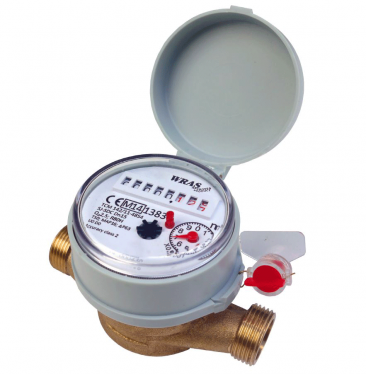"Single-jet Cold Water Meter 3/4"" BSP :: Nuts, Tails, washers included"