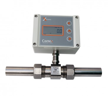 Liquid Flow Turbine Meter::  4mm ID, Range 0.66 - 4.16 l/min
