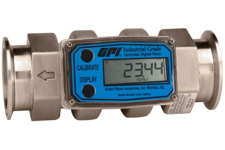 "Inline Digital Turbine Flow Meter - 1"" Tri-clove 1 1/2"" Hygienic Fittings"
