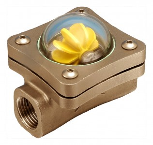 "8mm (1/4"" BSP(F) Bronze Spinner Visual Flow Indicator"