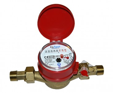 "Single-jet Hot Water Meter 3/4"" BSP :: Nuts, Tails, washers included"
