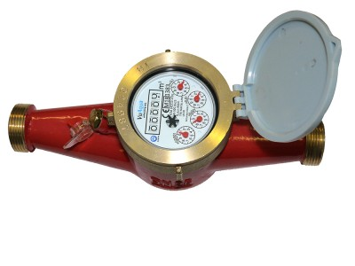 "DN32 Multi-Jet Water Meter (Hot) Dry Dial 1 1/4"" BSP :: Nuts, Tails, washers included"