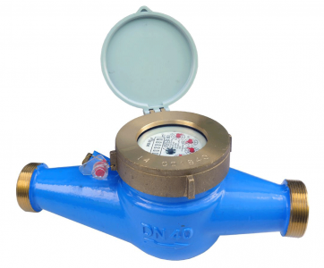 "DN25 Multi-Jet Water Meter (Cold) Dry Dial 1"" BSP :: Nuts, Tails, washers included"